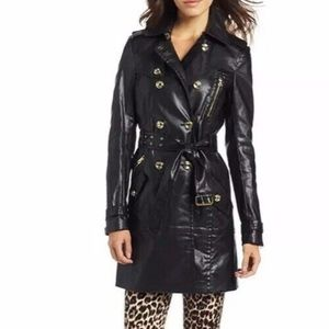 Juicy Couture Black Leather Trench Coat Jacket XS